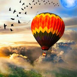 freetoedit globo sky flaying birds