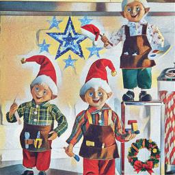 freetoedit elves christmas stars wreath