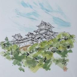 drawing art castle himejicastle japan