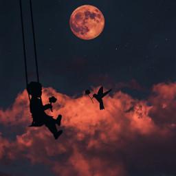 red love moon per freedom freetoedit