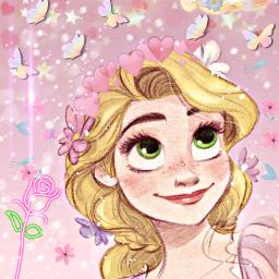 freetoedit pink princess rapunzel flowers