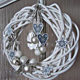 freetoedit white silver christmas wreath