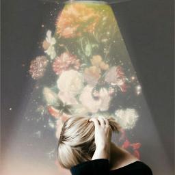 freetoedit ufo flowers woman