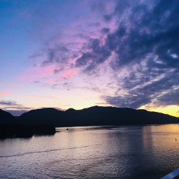 sunset ketchikan alaska mountians water