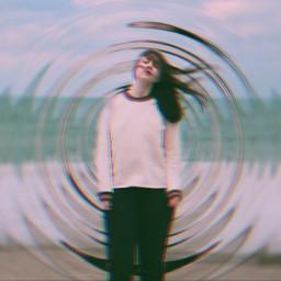 freetoedit girl pink radialblureffect glitch ircwindyportrait