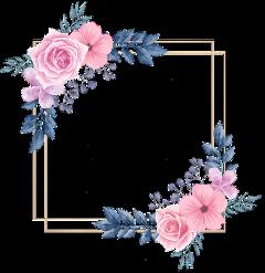 rose square flower floral frame freetoedit