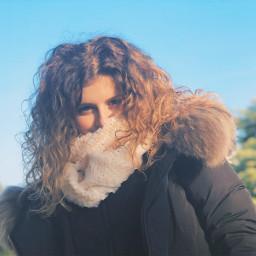freetoedit love curlyhair hiden lookingatthecamera scarf