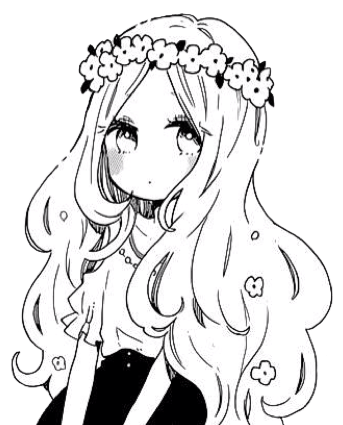 #anime #girl #animegirl #manga #girl #mangagirl #blackandwhite #kawaii #cute #flowercrown #flowercrowngirl