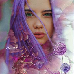 freetoedit doubleexposure fantasy purple flowers