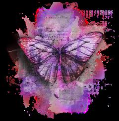 freetoedit purplebutterfly paper inksplash