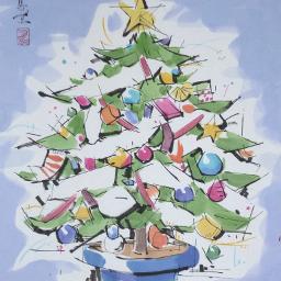 drawing art christmas christmastree japan