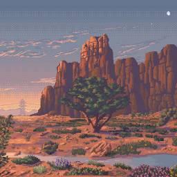 desert biome pixel pixelized 8bit