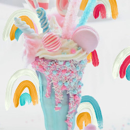 freetoedit rainbowbackground cottoncandy milkshake pink srcrainbowstroke rainbowstroke