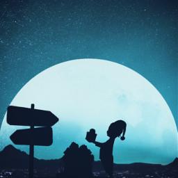 christmas gifts merrychristmas moon silhouette freetoedit