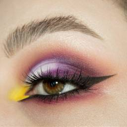 eyelineronpoint browneyes purple yellow black freetoedit