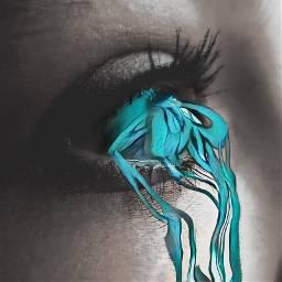 freetoedit surreal madewithpicsart blueeyes tears