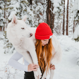 winter dog girl dogs people freetoedit