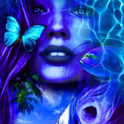 myoriginalwork originalart conceptart womanportrait monochromatic ccblueaesthetic
