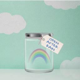 freetoedit blissfulpoms clouds rainbow jar