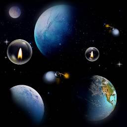 freetoedit blue universe space plantes