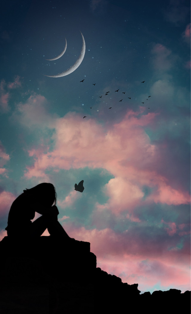 """""""LiFe iS TouGH,& tHinGs Don'T aLwaYs wOrk OuT WeLL,BuT We sHoulD Be BraVe & Go oN WiTh OuR LiVes.🕊""""   https://m.youtube.com/watch?v=SXNMvxDTAWw . . . #blue #pink #brave #moon #sky #clouds #mountain #butterfly #birds #stars #silhouette #wallpaper #background #madewithpicsart #heypicsart  #freetoedit"""