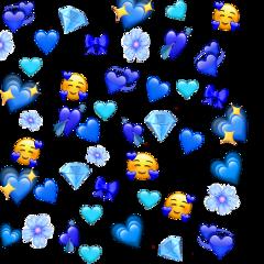 blue hearts emojibackground bluebackground background freetoedit