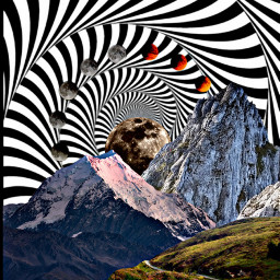 freetoedit psychedelic opticalillusion mountain moon