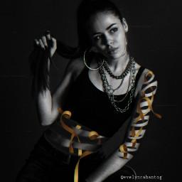 freetoedit woman photomanipulation surreal ribbon