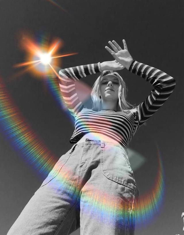 #freetoedit #blackandwhite #blackandwhitephoto #blackandwhiteeffect #lensflare #lensflair #rainbow