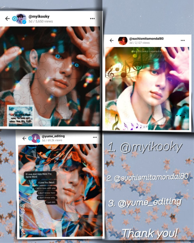 """@myikooky , First because it's simply really creative.  As prize - I will follow you , will repost your 5 recents 💕 , and complete any request you want! You can comment down if you want something else.  2.  @suchismitamondal80 second cuz it's really eye-catching , As prize - will repost your 5 recents 💕 , and complete nany request you want!  You can comment down if you want something.  3. @yume_editing  it's really beautiful you made its aesthetic 💜, As prize- will like your 10 recents , and complete Any Request you want 💜.  Request can be about anything you want ,not just a """"edit"""" , it can be watermark/ collaboration/ icon etc. , so feel free to do it .❤️  Thanks for joining 💖. I liked other edits as well 💜. I'm sorry for so late responses and other things.🙏  #freetoedit"""