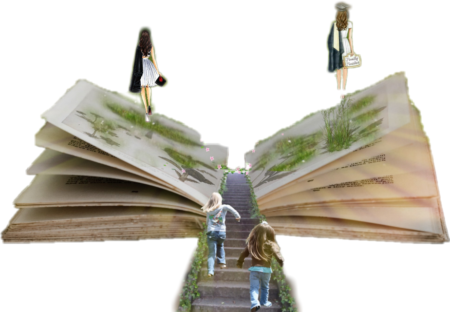 #girls #book #steps #green #stairs #children #education #picsart