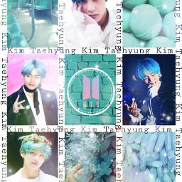 kpop btsv kimtaehyung tuquoise aesthetic