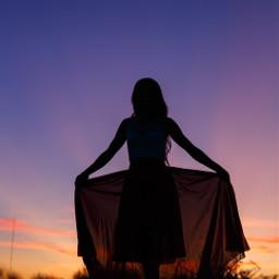 woman sunset sky freetoedit