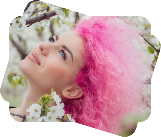 pink hair girl face edited with beautify effect