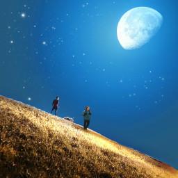freetoedit picsart picsartedit moon nightphotography