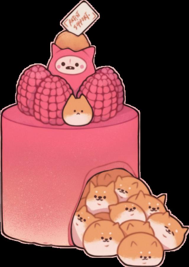 #anime #freetoedit #aesthetic #pink #raspberries #dog #shiba