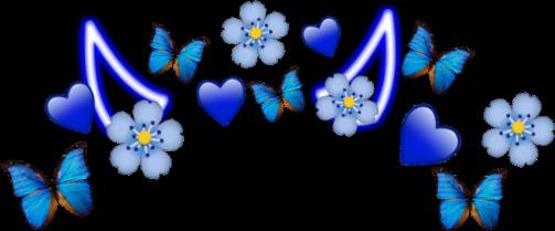 #blue #papillon #magnifique #beautiful #bleu #heart #coeur #couronne #diable #diablo