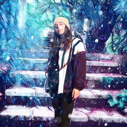 freetoedit snow steps girl blueandwhite