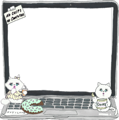 computer frame cat donut freetoedit