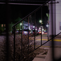 bokeh street railing nightphotograpy color