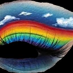 freetoedit rainbowmakeup eyes eyesmakeup gözmakyajı