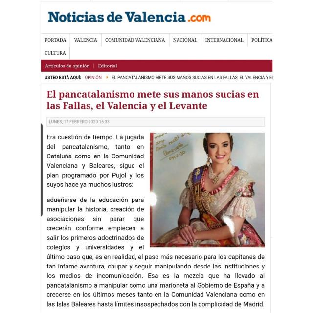 """Si a las fallas las están empujando al abismo de renunciar a su origen a base de chantajes económicos e imposiciones administrativas del pancatalanismo más rancio, no está mucho mejor el movimiento del pancatalanismo en un mundo en el que, hasta ahora, no se les podía ni ver de cerca, las gradas del Valencia CF y del Levante UD. La catalanista, que no valencianista, """"Colla Blanc-i-negra"""" y la pancatalanista """"Penya Tótil"""" del Levante han llegado para meter el catalanismo en el futbol valenciano. http://www.noticiasdevalencia.com/index.php/opinion/19323-el-pancatalanismo-mete-sus-manos-sucias-en-las-fallas-el-valencia-y-el-levante Dentro de ese plan basado en mentiras históricas y manipulaciones lingüísticas había dos escollos en Valencia en los que, hasta ahora, el pancatalanismo no se había atrevido o no había podido meter la patita, las Fallas y el futbol. Pero parece que ya ha llegado el momento @llibertadors  ¡𝙋𝘼𝙍𝙀𝙈 E𝙇 PAN𝘾𝘼𝙏𝘼𝙇𝘼𝙉ISME! 🖊FIRMA ACÍ: www.llibertadors.com #ValencianLanguageIsNotCatalan #ValenciaIsNotCatalonia  #LlenguaValenciana #NdP #RACV"""