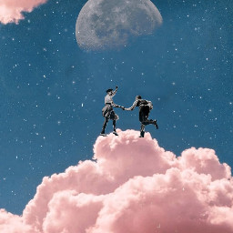 clouds pinkclouds moon dance freetoedit