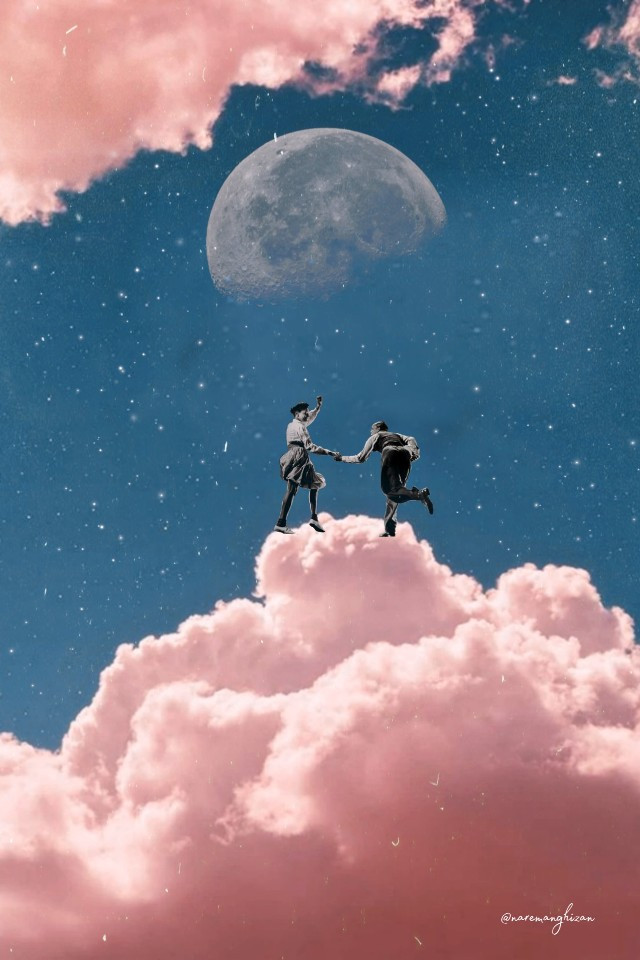 Dancing in the clouds, coz why not!! ☁️💕 Edit by @naremanghizan  #clouds #pinkclouds #moon #dance #freetoedit