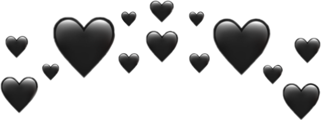 hearts crown black emoji sad freetoedit