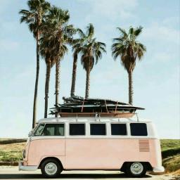 freetoedit aesthetic pink bus la