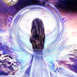 freetoedit editedbyme moonlight angel wing srcneoncircle neoncircle