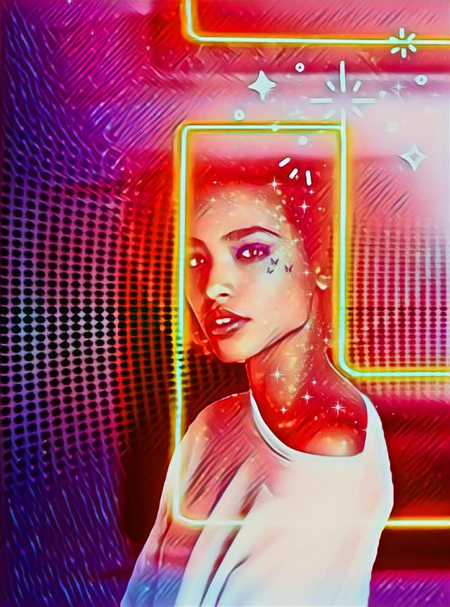 #freetoedit #neon #face #sparklesbrush
