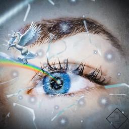 eyesblue blue eye arcoiris unicornio freetoedit