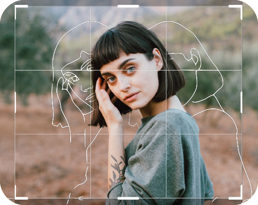 photo of a short black hair girl posing in the field with sketch effect applied